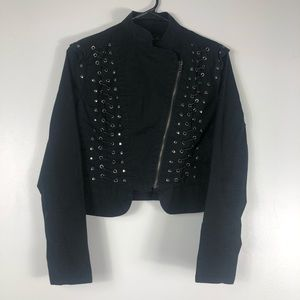 Black Cropped Asymmetric Zip Up Jacket Size Large